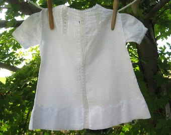 Vintage White Baby Dress or Doll Dress with Lace Inset Front