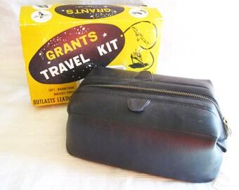 Vintage Grant's Travel Kit Toiletry Bag – In Original Retail Package – Black Vinyl Made in Korea