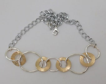 Silver Gold Links Necklace