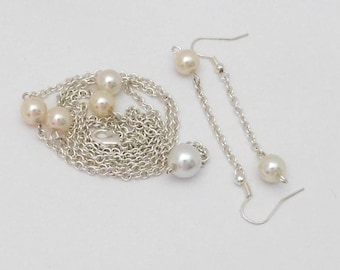 Pearls  Earrings Stations Necklace