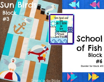 2 Digital Patterns for Sun, Sand, and Sea Block of the Month -Sun Birds (Block #3) and School of Fish (Block #6) Border for Block #5