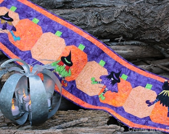 Stitchy Witchy Table Runner Digital Download Pattern for Quilting and Sewing Applique - 4 different quilt block patterns Halloween Witches