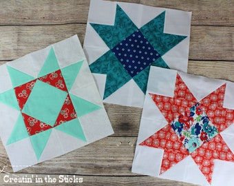 4 digital patterns - Words to Grow By Quilt Blocks