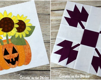 2 digital patterns - October Blocks for A Time for All Seasons Block of the Month