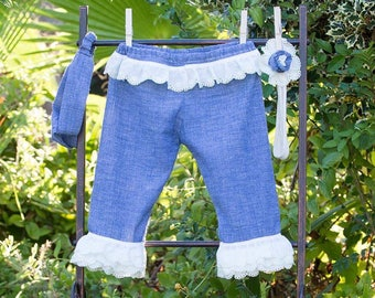 0f2c1ed10 Soft denim Onesies for baby girl 100% Cotton hand made with