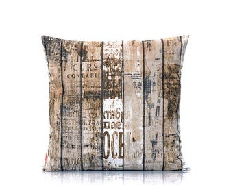 Rustic pillow cover, wood pillow, old wood, wood grain cover, home decor, urban cushion, throw pillow, 18x18 inch