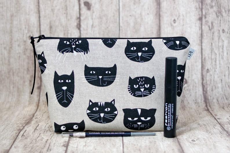 29ae255e0049f Kot makijaż torba torba na dzieci koty na zamek błyskawiczny | Etsy
