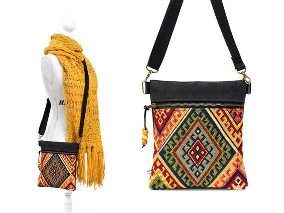 Festival bag Small sling purse Faux black leather Tapestry purse Vegan Shoulder bag Cross over Boho Cross body bag Little zipper bag