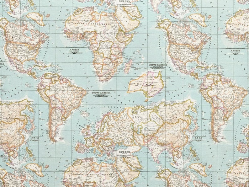 World Map Print Fabric.Map Fabric World Map Half Meter Half Yard Upholstery Etsy