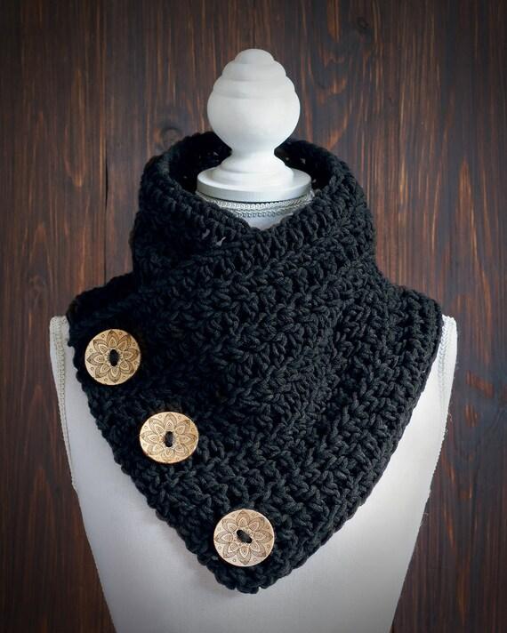 Knopf Schal drei-Tasten-Kutte Grobstrick Schal dekoriert | Etsy