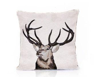 Deer pillow cover, Deer head, Animal cushion, Christmas gift, Nature pillow, Deer stag, Home Decor, Decorative pillow, Throw Tosh, 18x18