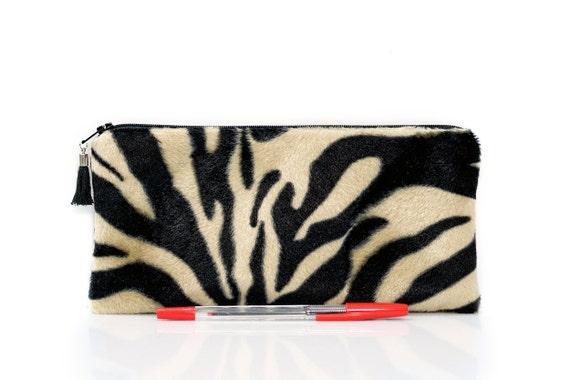 Faux fur bag Zebra pencil case Makeup bag Jungle bag  c3c38dc6cb137