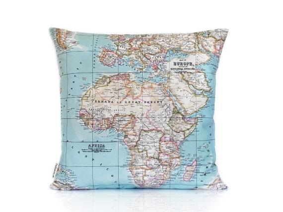 Map pillow cover zipper cushion world map cushion case etsy gumiabroncs Choice Image