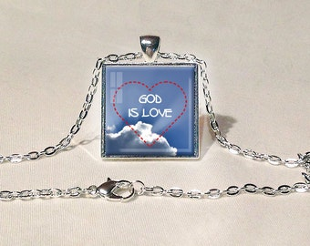 GOD IS LOVE Pendant Christian Jewelry Religious Pendant Christian Gift for Christian God is Love Jewelry Red Sky Blue White Faith Jewelry