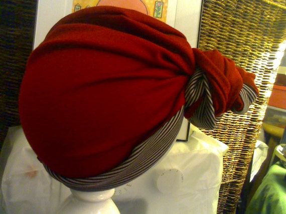 686ca125050 Sewed Top Knot Bun Red Turban with Stripes