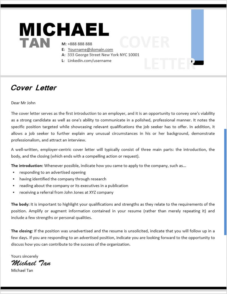 Resume Cover Letter Reference Letter Templates INSTANT | Etsy