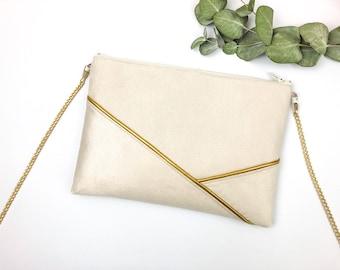 Golden beige wedding clutch, nude bridesmaid, beige and gold graphic shoulder bag, wedding guest bag
