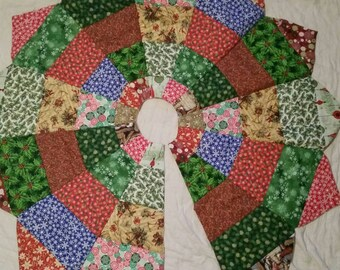 Quilted Christmas Tree Skirt, Quilted Tree Skirt, Religious Christmas Tree Skirt, Quilted Tree Skirt, Handmade Christm