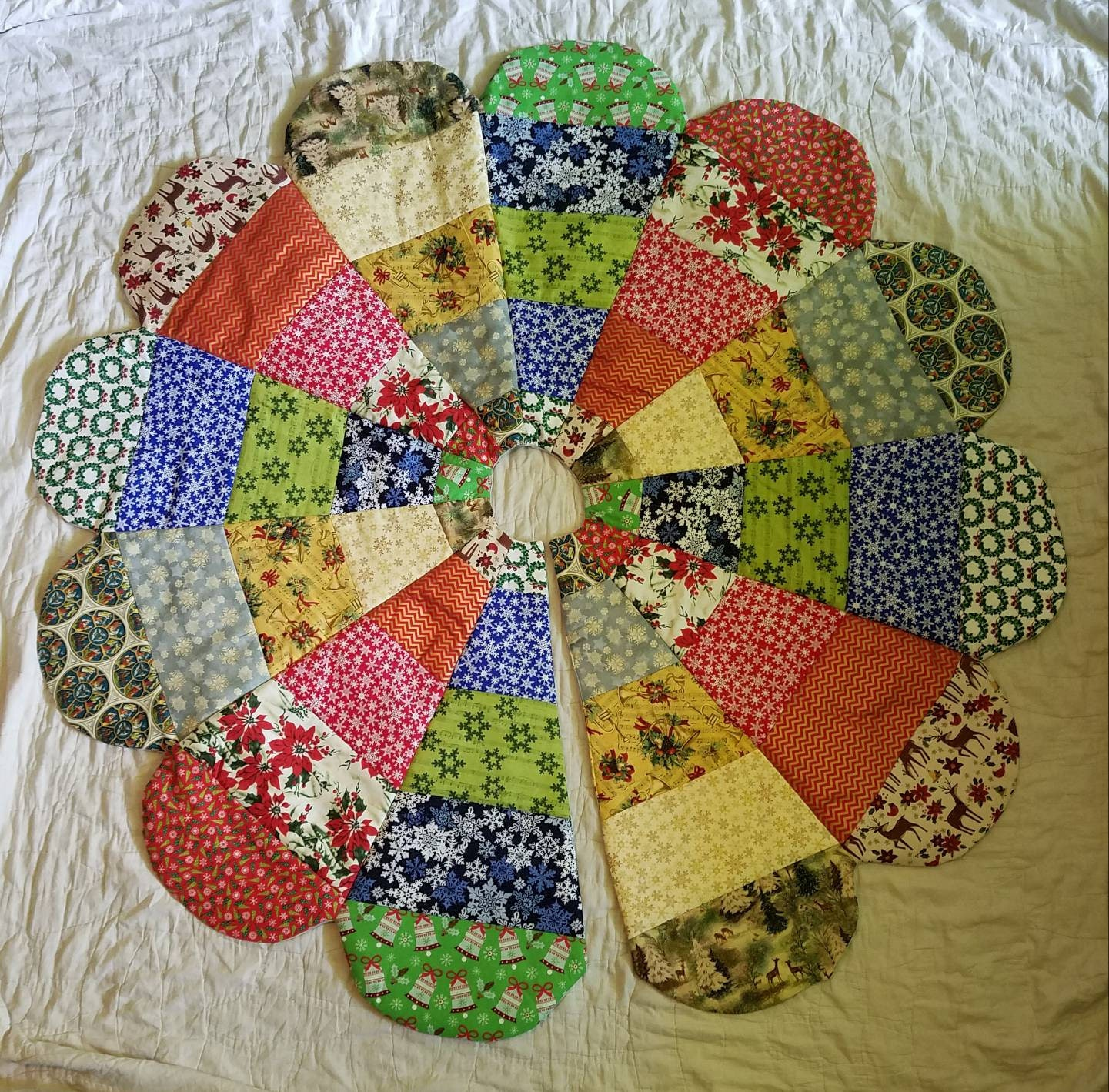 Etsy Christmas Tree Skirt: Quilted Handmade Christmas Tree Skirt Religious Christmas
