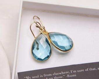 December Birthstone Earrings - Blue Topaz earrings - Gold drop earrings - Blue Topaz drops - Elegant earrings - bridesmaids, birthday gift
