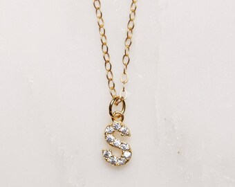 Initial s necklace etsy initial necklace s short gold necklace tiny initial necklace small initial pendant necklace for women dainty gold jewelry necklaces aloadofball Choice Image