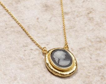 shabby 25mm romantic woman cabochon bronze necklace