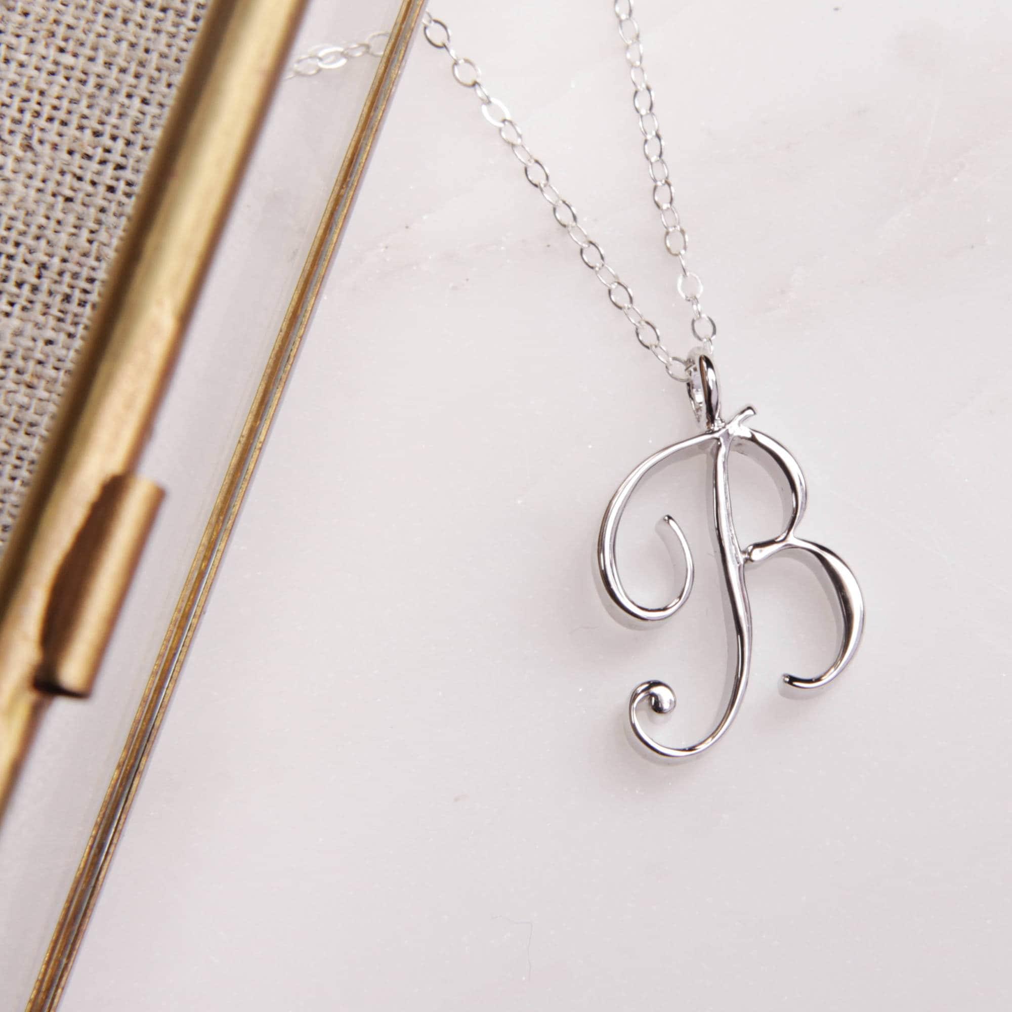 Silver Initial b Necklace Script Initial Necklace Cursive Letter Necklace Lowercase b Cursive Initial B Necklace In Silver Monogram B