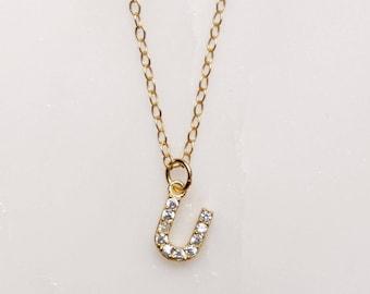 "Initial Necklace ""U"" - Monogram Necklace, Monogram Pendant, 14k Gold filled chain, simple gold necklace, tiny pendant necklace, thin neck"