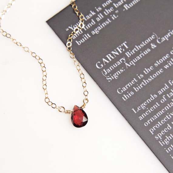 14k Gold Garnet January Birthstone Cursive Letter C Dog-tag Necklace