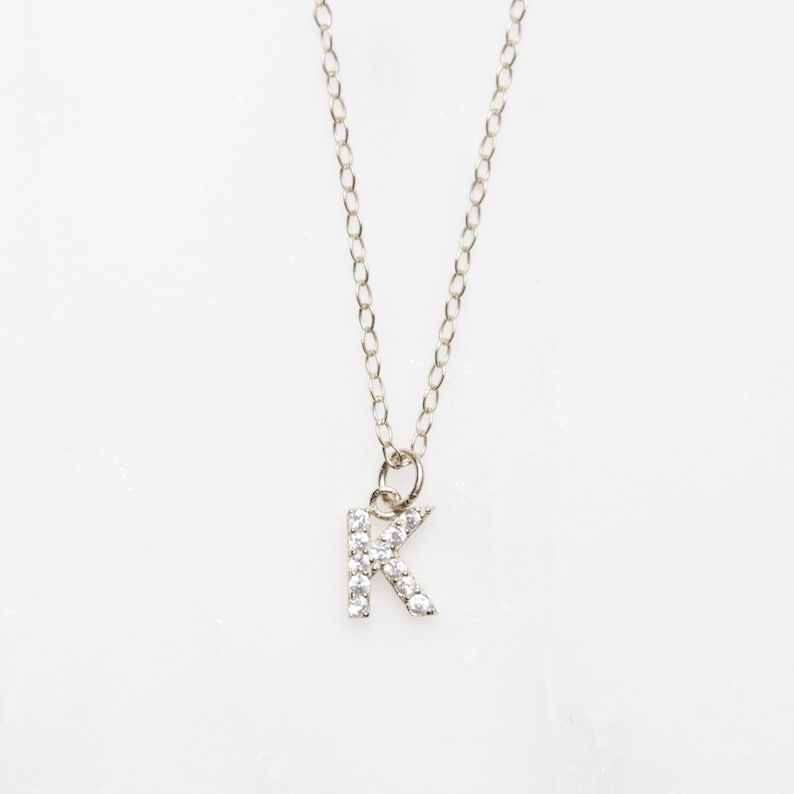17c9b2874aa Dainty K Necklace - Silver letter K initial necklace for her - Simple  sterling silver short chain - Monogram jewelry, Initial Jewelry