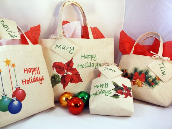 CHRISTMAS GIFT BAG Set of 4 Assorted Sizes Canvas Reusable | Etsy