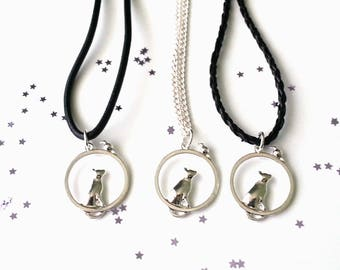 Cat and mouse necklace -  cat jewellery - 3 chain length options - cat gift - gift for her