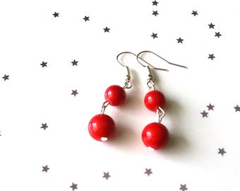 Red coral earrings - red earrings - 5 earring options available - sterling silver earrings - gift for her