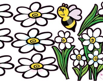Flowers and Bee Wall Decals