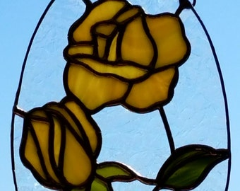 Stained Glass Yellow Roses