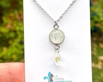 Silver white and Swarovski fusion pendant