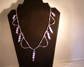Wisteria inspired necklace, lilac statement necklace, purple 18 inch necklace ,spring flower necklace ,violet flowers
