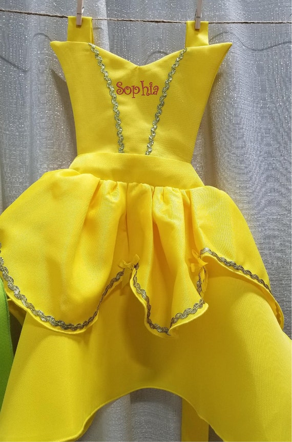 Beauty yellow dress Birthday gift Custom Embroider Monogram Belle Princess apron pretend play costume Personalized child Fairy Tale