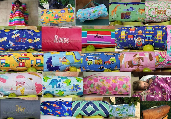 brand new 3afec 0fefc Nap mat with pillow. Nap roll and attached blanket. Personalized Daycare  napmat. Toddler preschool nap time sleep bag. Shark. Princess. Dino