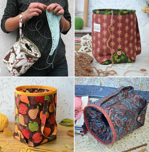 Pdf Sewing Pattern Knitting Project Bag Sewing Tutorial Etsy