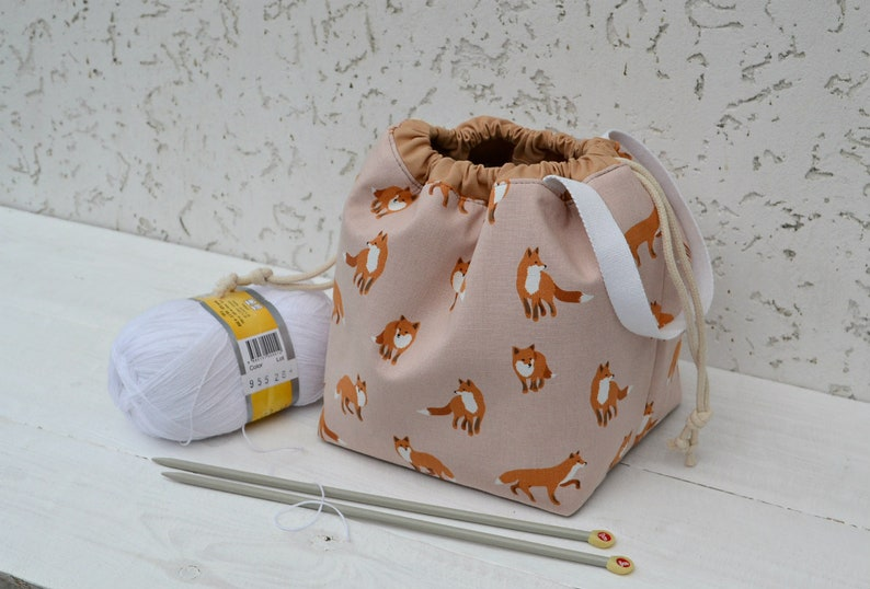 Fox Divided drawstring project bag for knitting with zipper pocket Compartment ball sack Yarn bowl Gift for Mom Travel crochet tote