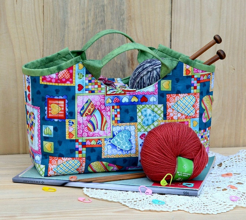 Knitting Bag Storage Bag for Knitting Wool Knitting Needles Crafts Jeans Polka