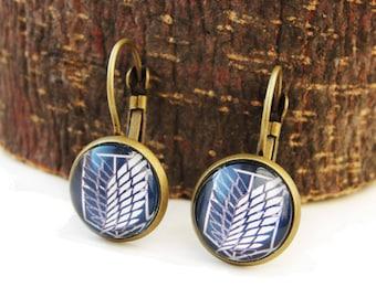 Shingeki no Kyojin - small leverback earrings elegant simple earrings 12mm glass dome Attack on Titan cabochon navy blue white earrings