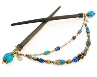 Set of 2 japanese wooden hair sticks blue stripe agate - orient kanzashi hair pins wood, chopsticks barrette hairpiece - removable pendant
