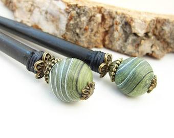 Set of wooden hair sticks blue black beads japanese kanzashi short hair pins wood hair chopsticks geisha hairpiece orient hair jewellery