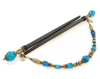 Set of 2 japanese wooden hair sticks with blue stripe agate - kanzashi hair pins wood, chopsticks barrette hairpiece - removable pendant