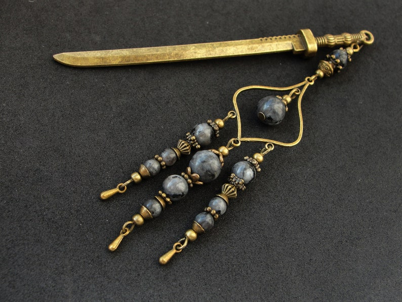 Metal hair stick with labradorite stone beads japanese kanzashi hair pin ornament chopstick hair decoration hair slide orient jewellery