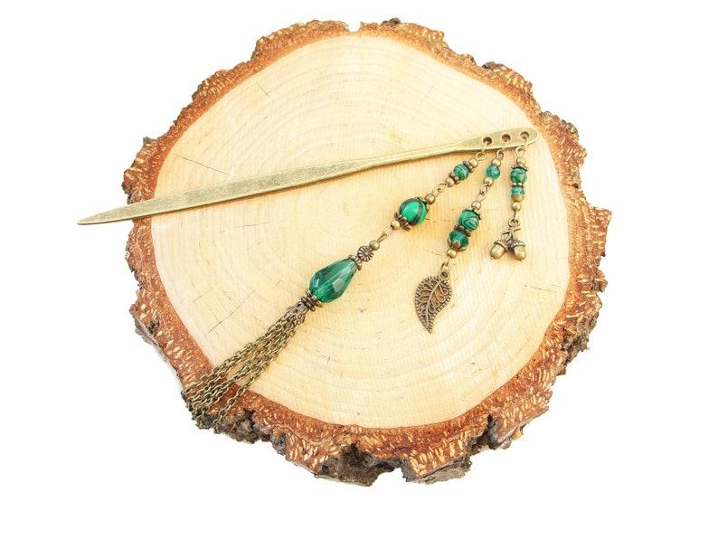 Metal hair stick with malachite peacock green fine beads hairpin hair chopstick hair ornament hair jewellery bun decoration hair accessory