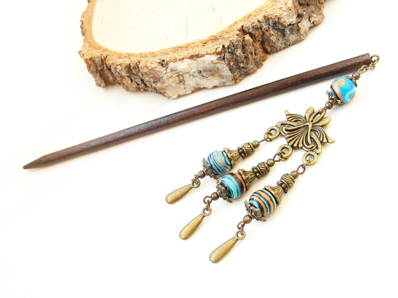 Wooden hair stick synthetic turquoise chandelier chained hairpin wood hair chopstick turquoise blue hair ornament festival decoration gift