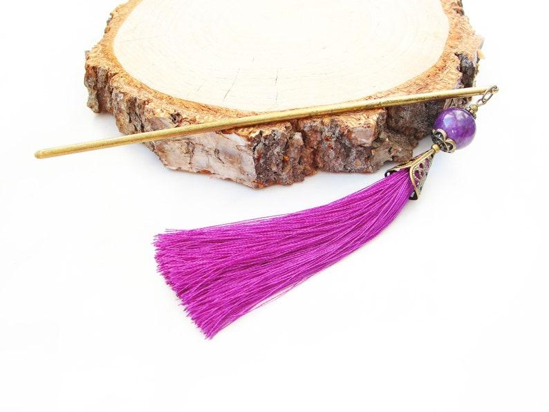 Metal hair stick with purple marble and silk tassel hairpin asian pick japanese orient kanzashi geisha hair piece jewellery hair chopstick
